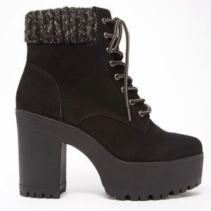 Forever 21 Suede Lace-Up Platform Booties